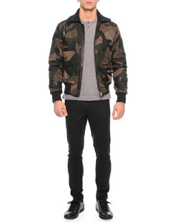 Leather/Nylon Patch Bomber Jacket, Short-Sleeve Knit Henley Tee & Drawstring Jogger Pants
