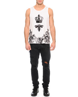 Flocked Crown/Bee-Printed Tank & Destroyed Denim Jeans