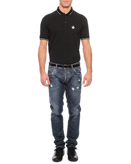 Tipped Polo Shirt & Medium-Wash Distressed Denim Jeans