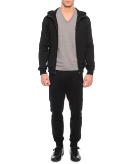 Zip-Front Hoodie with Crown Patch, Basic V-Neck Tee & Zip-Pocket Drawstring Sweatpants