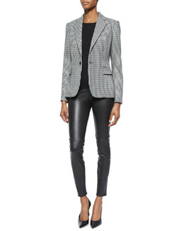 Leander Cashmere-Blend Houndstooth Jacket, Cashmere-Blend Knit Crewneck Sweater & Stretch Leather Cropped Leggings