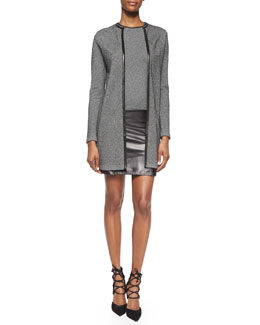 Cashmere Long Cardigan & Cashmere/Leather Combo Dress