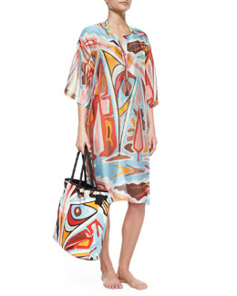 Celeste Sheer Printed Caftan Coverup & Printed Linen Beach Bag