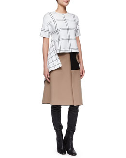 Plaid Asymmetric High-Low Top & Cutout Contrast-Inset Circle Skirt