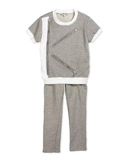 Fleece-Lined Short-Sleeve Tee & Drawstring Sweatpants, Gray/White