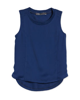 Girls' Mixed-Media Sleeveless Tank