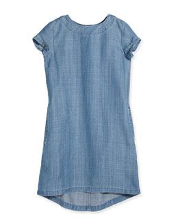 Short-Sleeve Chambray Shift Dress, Light Indigo