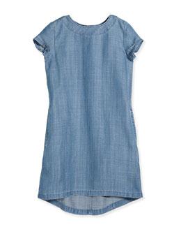 Short-Sleeve Chambray Shift Dress, Light Indigo