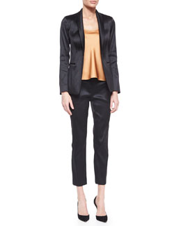Satin Single-Button Tuxedo Jacket, Classica Charmeuse Relaxed Camisole & Satin Slit-Pocket Skinny Ankle Pants