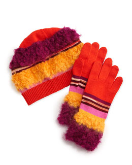 Fuzzy Striped Knit Hat & Gloves