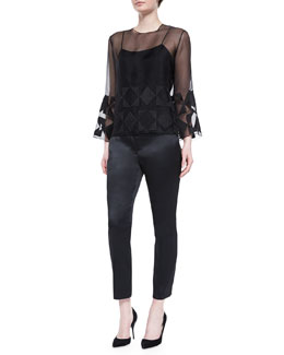 Geometric-Embroidered Sheer Blouse & Satin Slit-Pocket Skinny Ankle Pants