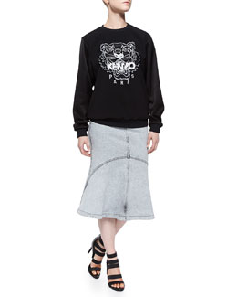 Crepe-Sleeve Tiger Sweatshirt & Snow-Washed Flared Denim Skirt