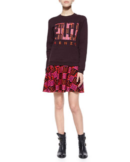 Embroidered-Front Knit Sweatshirt & Open-Stitch Love A-Line Skirt
