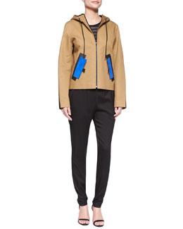 Water-Repellant Hooded Jacket, Striped Scoop-Back Tank & Silk Track Trousers