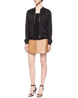 Stretch-Silk Twill Bomber Jacket, Matte Jersey Open-Back Cami & Lambskin Leather Center-Pleated Mini Skirt
