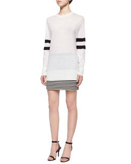 Lightweight Merino Wool Sweater W/ Striped Sleeves & Twisted Striped Mini Skirt