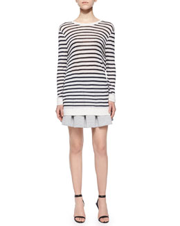 Long-Sleeve Striped Tee & Oxford Cotton Pleated Mini Skirt