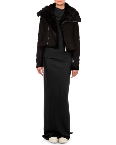 Shearling Trimmed Tail-Back Biker Jacket, Bonnie Jersey Cowl-Neck T-Shirt & Banded Godet Pleated Column Skirt