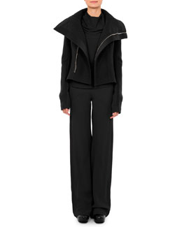 Nasaka Tail-Back Biker Jacket, Bonnie Jersey Cowl-Neck T-Shirt & Classic Wide-Leg Combo Pants