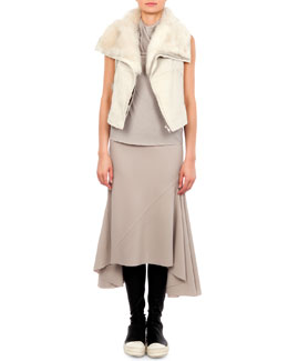 Long Hair Shearling Trimmed Vest, Bonnie Jersey Cowl-Neck T-Shirt & Asymmetric Godet Pleated Midi Skirt