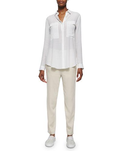 Gaze Long-Sleeve Button-Front Blouse & Resolve Drawstring Ankle Pants