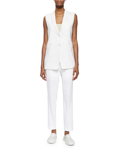Sleeveless Two-Button Linen Blazer, Revolve Jersey Cami & Solstice Linen-Blend Ankle Pants