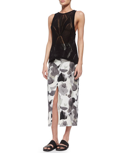 Fractured Lace Tank & Crypsis-Print Jersey Skirt