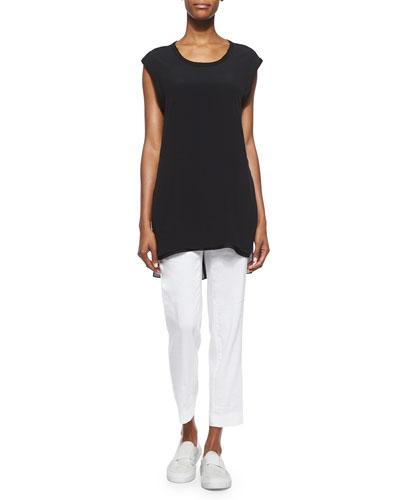 Cap-Sleeve Long Knit Top & Solstice Linen-Blend Ankle Pants