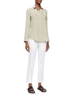 Mere Long-Sleeve Silk Blouse & Solstice Linen-Blend Ankle Pants