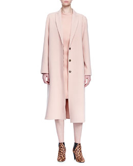 Oversized Woven Wool Coat & Sleeveless Satin Sheath Dress