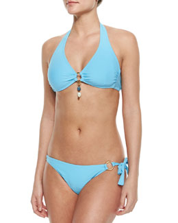 Hibiscus Halter Swim Top & Tie-Side Swim Bottom
