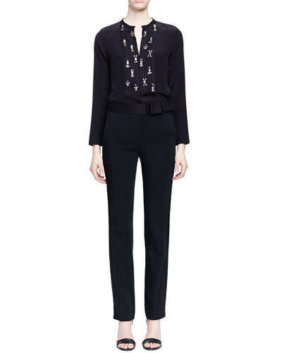 Crystal-Embroidered Slit-Keyhole Blouse & Bow-Detailed Slim-Fit Tuxedo Trouser