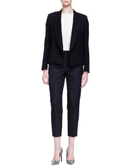 Knotted Bow-Back Jacket, Chiffon-Layered Knit Blouse & Pleated Slim-Fit Cropped Pants