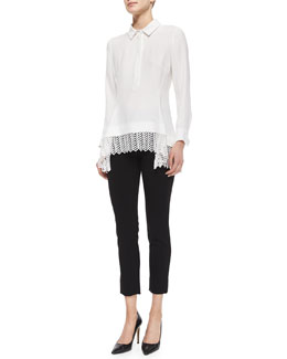 Lace-Hem Silk Popover Blouse & Catherine Crepe Slim Ankle Pants