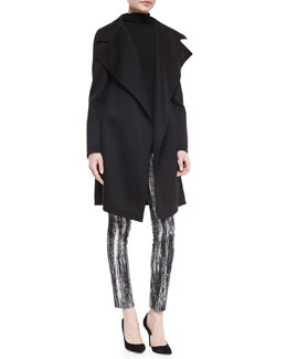 Sculpted Jersey Belted Coat, Cashmere-Blend Slub-Knit Turtleneck Top & Brush-Striped Stretch Jacquard Leggings