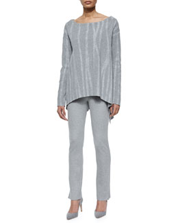 Variegated Needlepunch Boat-Neck Tunic & Slit-Cuff Jersey Leggings