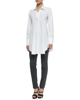 Ruffled Poplin Easy Shirt & Ultra-Stretch Twill Seamed Leggings