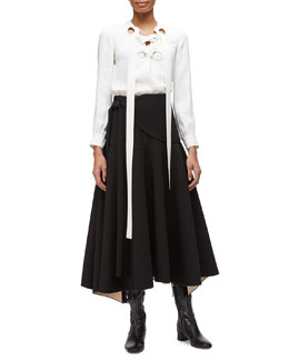 Lace-Up-Front Georgette Blouse & Double-Faced Tie-Waist Full Skirt