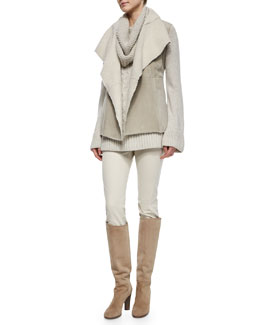 Hartfield Topstitched Shearling Fur Gilet, Chunky Cable-Knit Tunic Sweater & Devin Twill Skinny Pants