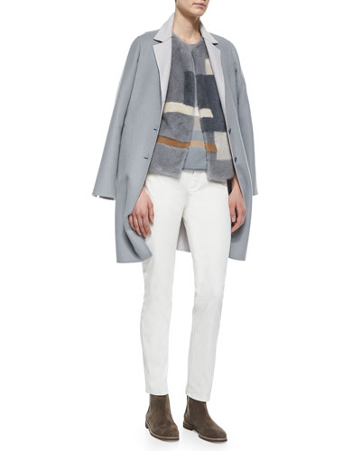 Harrison Contrast Reverse Coat, Nelson Geometric Pattern Fur Gilet, Geometric Pattern Knit Top & Hidalgo Denim Ankle Jeans