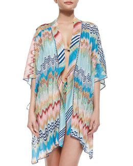 Multi-Wave & Stripe Pattern Open Coverup & String Bikini