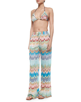 Multi-Wave & Striped String Bikini & Pull-On Pants