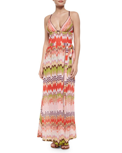 Multi-Wave & Striped Pattern One-Piece Swimsuit & Maxi Skirt