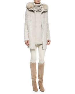Montgomery Fur-Trimmed Cable-Knit Cardigan, Winterland Slouchy Turtleneck Sweater & Devin Twill Skinny Pants