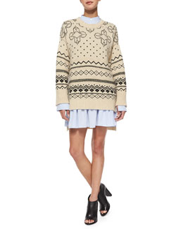 Crewneck Fair Isle Knit Sweater & Flounce Skirt Poplin Shirtdress