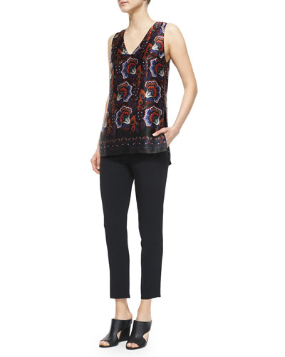 Floral-Print V-Neck Side-Slit Blouse & Smocked-Waist Tapered Ankle Pants