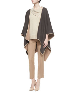 Two-Tone Reversible Wool Cape, Split Cowl-Neck Cashmere Sweater & Cashmere Straight-Leg Ankle Pants