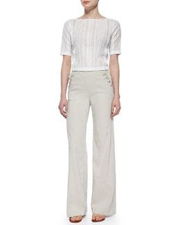 Littrelly Multi-Striped Knit Top & Alrigo High-Waisted Linen Pants