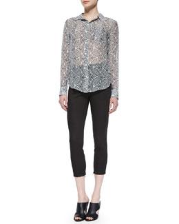 Simara Indo Printed Silk Blouse & Tonerma Stretch-Knit Sateen Pants