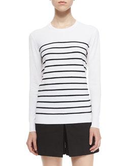 Weson Stripe-Front Long-Sleeve Top & Taminara Linen-Blend Skort